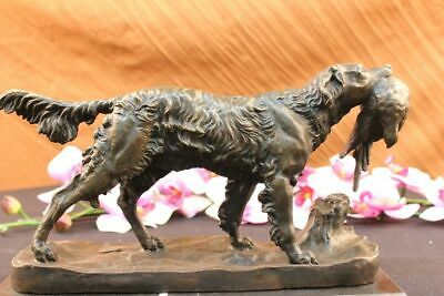 Pointer Hunting Bird Dog Bronze Marble Sculpture Signed Lost Wax Method Statue