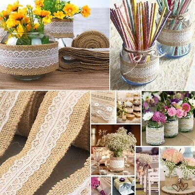 2 m/roll Rustic Wedding Party Natural Jute Burlap Hessian Ribbon with Lace Tape