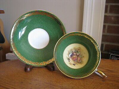 Aynsley England ORCHARD FRUIT Green Cup & Saucer with Gold Fleur de Lis Edge