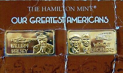 Set Of 2- Our Greatest American 24k GP .999~Silver Bars ( 2 Oz ) -Hamilton Mint.