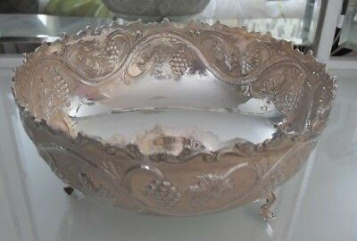 LARGE SOLID SILVER FRUIT BOWL - 830 clear CYPRIOT HALLMARK 482g NOT SCRAP