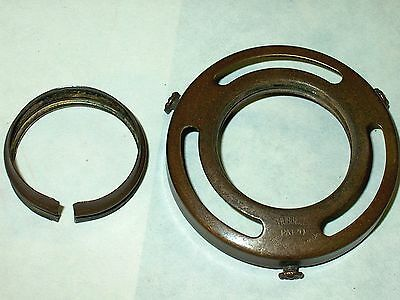 """Signed 1904 Hubbell 2 1/4"""" Shade Holder-Nice Patina W/ Adapter & Flower Screws"""