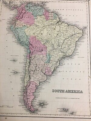 Antique 1855 SOUTH AMERICA J.H. Colton Hand Colored Map Patagonia Brazil ++