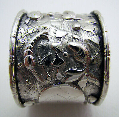 Very Rare Straits Chinese Export Peranakan Solid SILVER Antique Napkin Ring