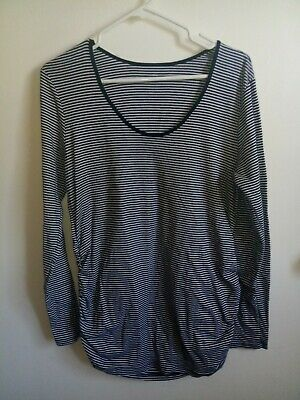 Old Navy Maternity Women's Long Sleeve Striped blouse Size XL Ribbed Sides