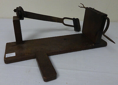 Antique Hand Wrought Iron & Wood Early Apple Peeler Unusual Primitive Form