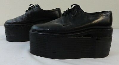 Vintage Pair of Leather & Wooden Carnival Elevator Shoes Size 9E