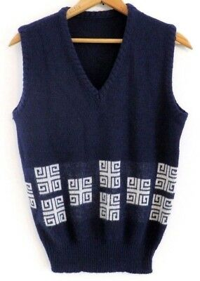 Vtg 60s MCM Navy Blue White Geometric MOD Rat Pack Lounge Retro Sweater Vest S M