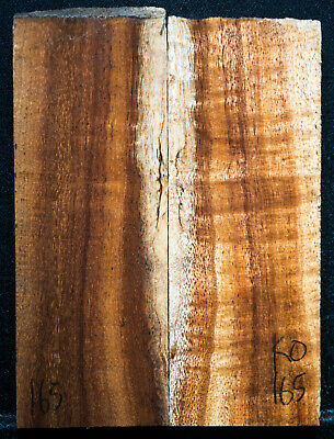 """Curly Koa #165 Knife Scales 5""""x 2"""" x 9/16"""" soft spot see 100 species in my store"""