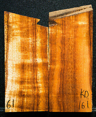"""Curly Koa #161 Knife Scales 3.5""""x 2"""" x 1/2"""" see 100 species in my store short"""