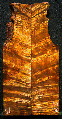 """Curly Koa #156 Knife Scales 3-7""""x .6-1.75"""" x 1/2"""" see 100 species in my store"""