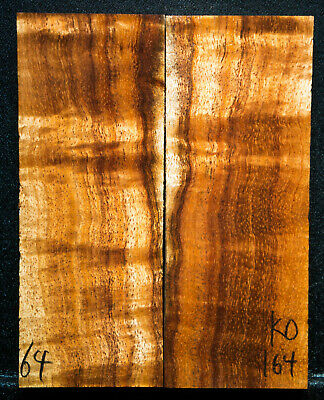 """Curly Koa #164 Knife Scales 5""""x 2"""" x 1/2"""" see 100 species in my store"""