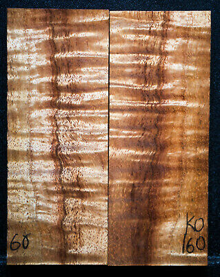 """Curly Koa #160 Knife Scales 5""""x 2"""" x 1/2"""" see 100 species in my store"""