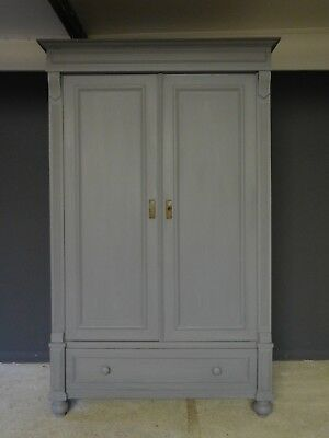 Genuine small rustic old antique pine painted grey wardrobe armoire dismantles