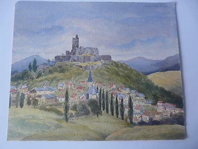 good antique unframed watercolour gouache painting konigstein dresden germany