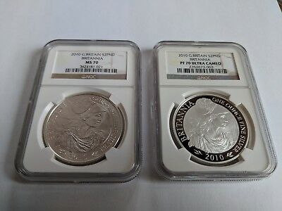 2010 GREAT BRITAIN BRITANNIA 1 OZ SILVER NGC PF70 and MS70 2 COIN SET