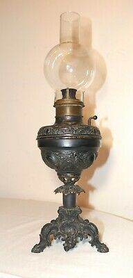 antique ornate Victorian figural bronze glass oil hurricane table lamp brass