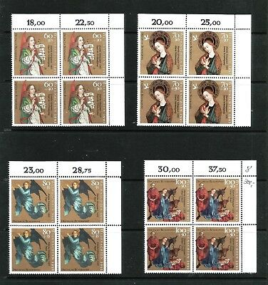 Germany Bund Mi Nr. 1578 - 1581 ** Blocks of 4 , Christmas 1991, MNH