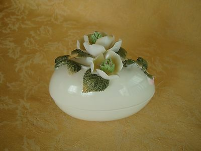 Vintage Porcelain White Trinket Jewelry Box with Applied Flowers on Top