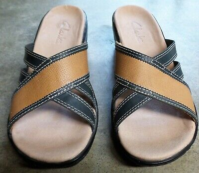 a2577d5bd23d Clarks Tan   Blue Leather Strappy Wedge Slip On Womens Sandals ...