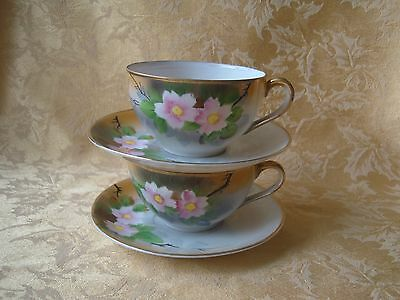 Pair of Vintage Moriyama Mori-machi Japan Cups & Saucers Circa 1920's