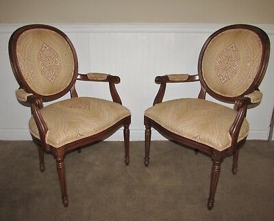 Ethan Allen Balloon Back Chairs, Pair Arm Chairs, Upholstered