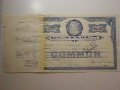 PBR PABST BLUE RIBBON Beer VINTAGE 1955 Stock Certificate Blyth & Co 50 Shares