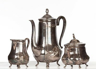Stunning Set of WMF Silver Plate Art Nouveau Tea Set Jugendstil Secessionist