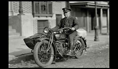 Vintage Indian Motorcycle Cop PHOTO 1920 New York Police Officer State Trooper