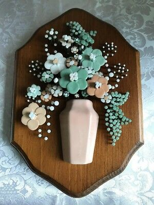 Vtg 1977 Pol-O-Craft Nail Flower Enamel Art Wood Plaque Pauline Owens Reading PA