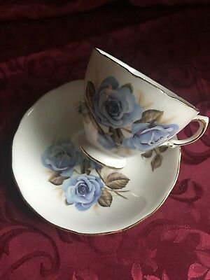 Vintage Crown Royal English Floral Bone China Tea Cup & Saucer - Blue Roses