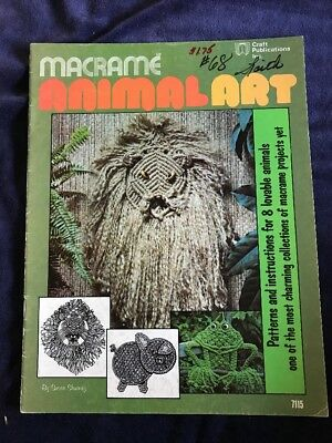 Wonderful Vintage Macrame Instructional Book For Eight Lovable Animals