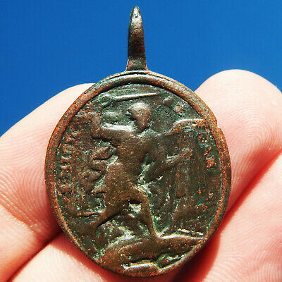 RARE ST MICHAEL ARCHANGEL SLAYING SATAN MEDAL OLD 18th CENTURY HOLY FAMILY CHARM