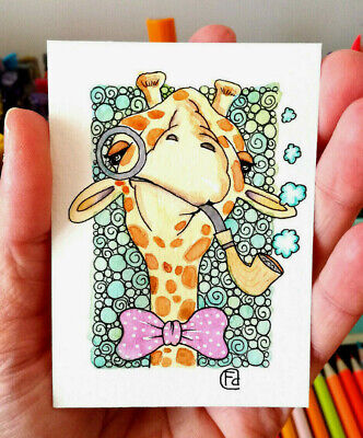 ACEO n.214 ORIGINAL PAINTING WATERCOLOR GIRAFFA WITH PIPA by FD