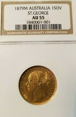 1879 M Australia Gold Sovereign St. George Ngc Au 55 Nice Early Date