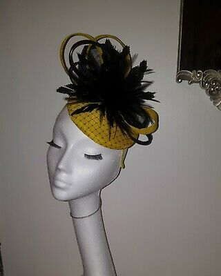 Black and Yellow fascinator / Hatinator for wedding/the races special occasions