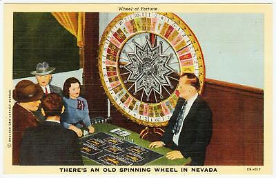 1940's LINEN WHEEL OF FORTUNE SPINNING WHEEL *las vegas nevada Post Card #D-82