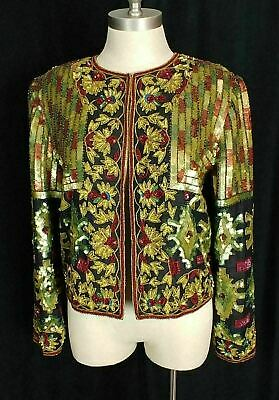 Vtg ADRIANNA PAPELL MATTE SEQUIN EVENING JACKET w/INTRICATE TRIBAL BEADING, S/M