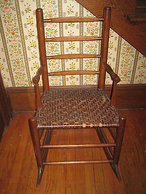 Antique Small Primitive Rocking Chair Woven Splint Seat All Original