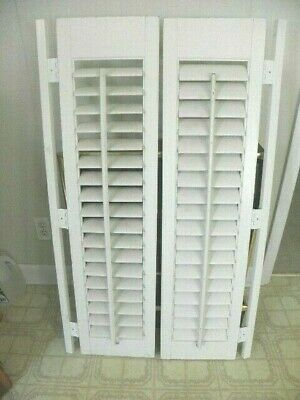 "44 5/16"" x 27 W VTG Colonial Wood Interior Louver Plantation Window Shutters"