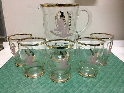 VINTAGE ART DECO RETRO 40s 50s FROSTED CRANE DRINKING GLASSES AND JUG ,PITCHER