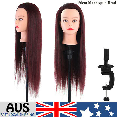 Human Hair Mannequin Head Salon Cosmetology Hairdressing Training+Clamp Durable