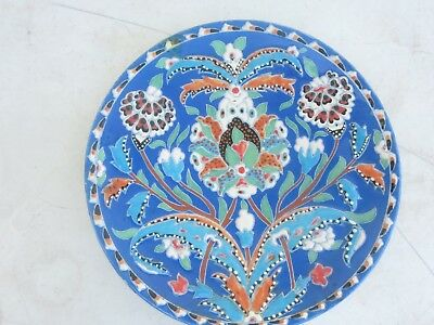 "Turkish Majolica Blue Iznik Persian Floral 10"" Ceramic Wall Plate Signed"