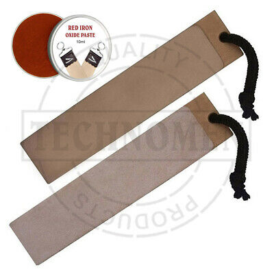 Knife Cut Throat Razor Sharpening Leather Paddle Strop Iron Oxide Balm Paste