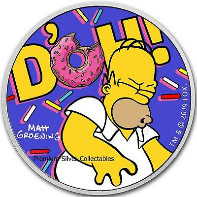 2019 Tuvalu - 1 Ounce Pure Silver Homer Simpson D'OH! Colorized!