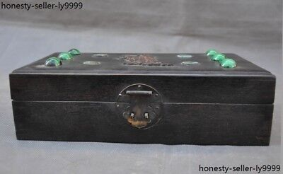 Chinese Rosewood inlay Turquoise jade carving beautiful woman statue Jewelry box