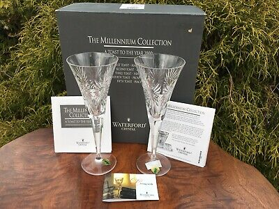 Nos 2 Waterford Crystal Millennium Champagne Flutes W/ Box & Papers Never Used!