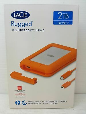 BRAND NEW SEALED - LaCie 2TB RUGGED THUNDERBOLT + USB-C PORTABLE HARD DRIVE