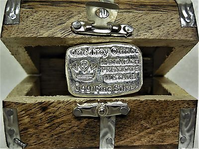 Monarch 1 Troy Oz. .999 Fine Silver Bullion Poured Bar & Mini Treasure Chest