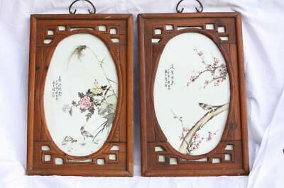 L@@K Fine Pair of Hand Painted Chinese Republic Period Framed Porcelain Plaques